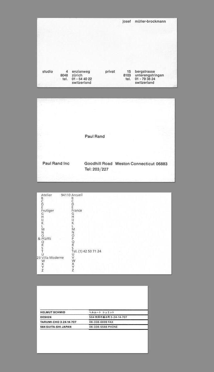 Business cards of minimal designers aisleone colourmoves